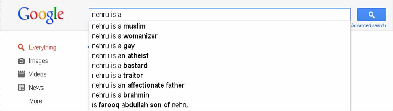 Nehru in Google search