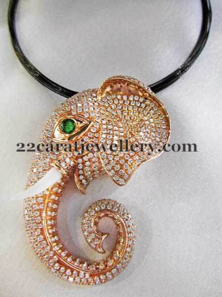 Elephant Shaped Diamond Locket