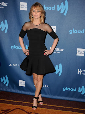 Jennifer Lawrence wore David Koma's fall 2013 collection when attended the 24th Annual GLAAD Media Awards
