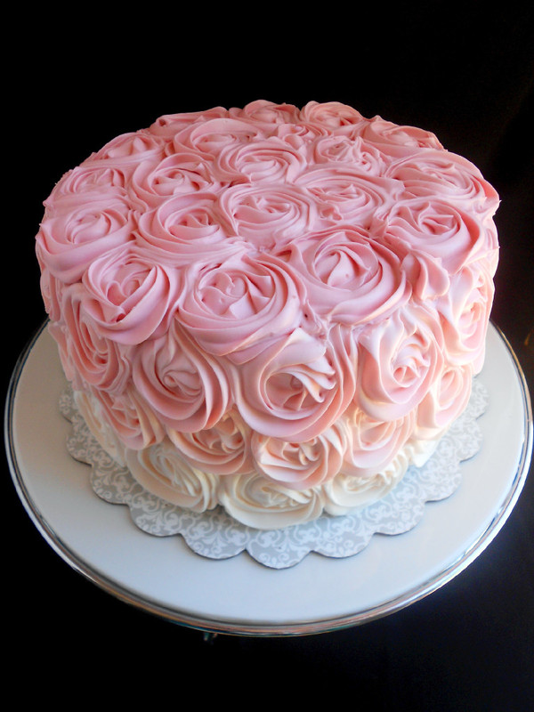 Pink Ombre Rose Cake - Confessions of a Confectionista