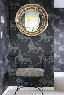 Lion Wallpaper Black and Silver Animal Charcoal Interiors Interior Design