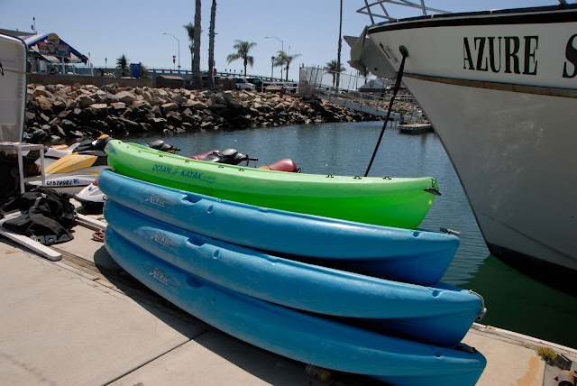 stack of harbor kayaks