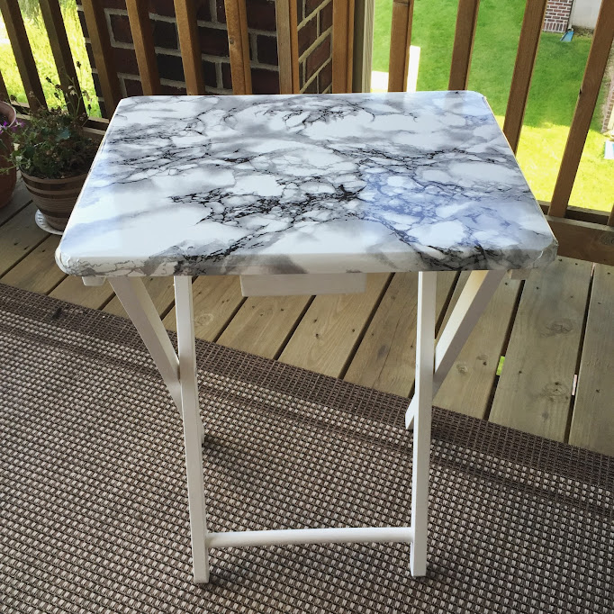 diy marble contact paper table redo