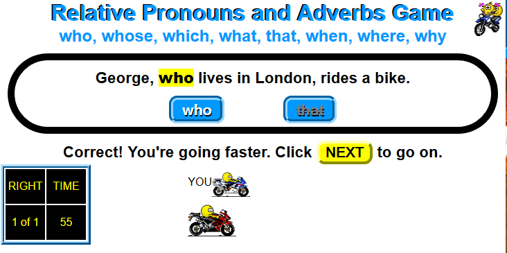 http://ipadthinker.com/wordGames/relPronounAgreeMcycle.html