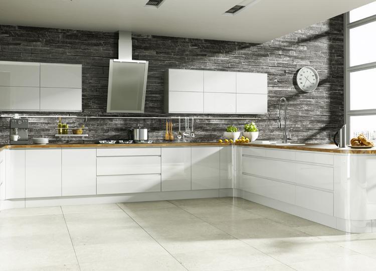 Kitchen and bedroom design blog white gloss handleless kitchen