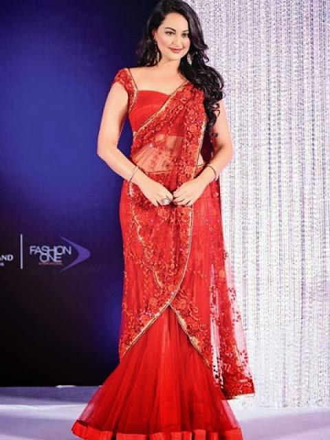 Sonakshi Sinha in Scarlet Net Sari Pics