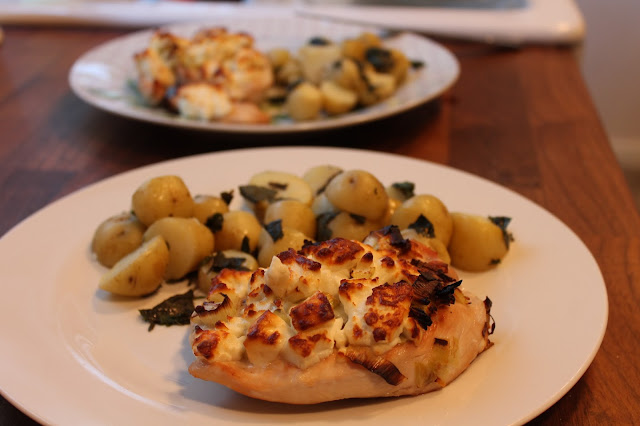 Hello Fresh Butterflied Chicken with Feta Leek and Minted Potatoes