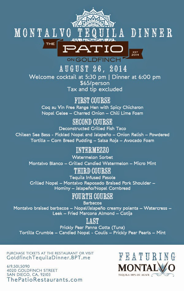 The Patio On Goldfinch Gets Prickly With Its Tequila Dinner | 5 Courses On  Tuesday, August 26