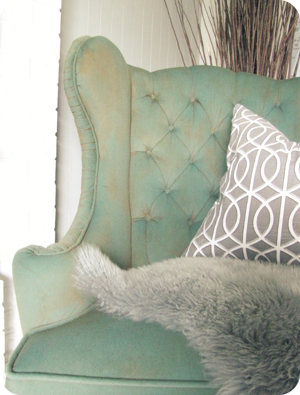 Tufted Wing Chair Makeover
