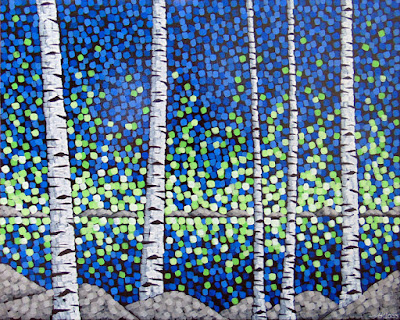Aurora, northern lights, aaron kloss, sivertson gallery, pointillism, contemporary landscape