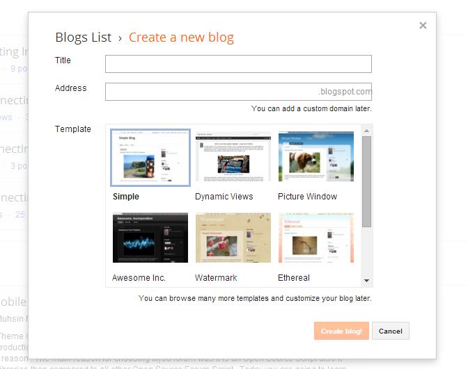 tampilan proses mendaftar di blogspot