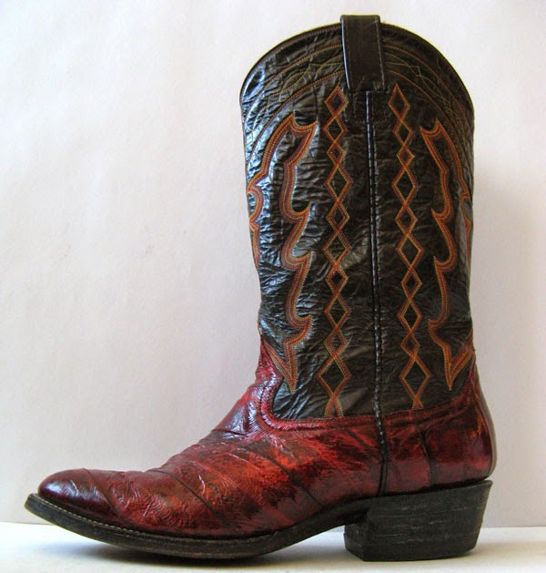 Eel Skin Leather Cowboy Boots Mens Size 10 5