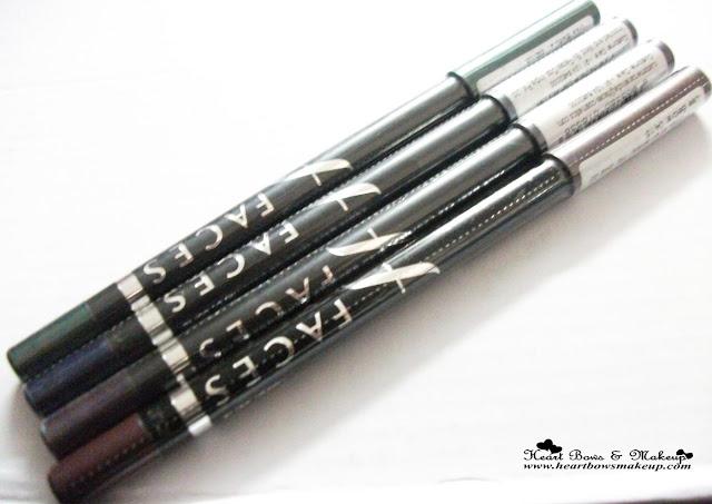 Faces Long Wear Eye Pencil Navy Blue Forest Green Purple Metallic Plum