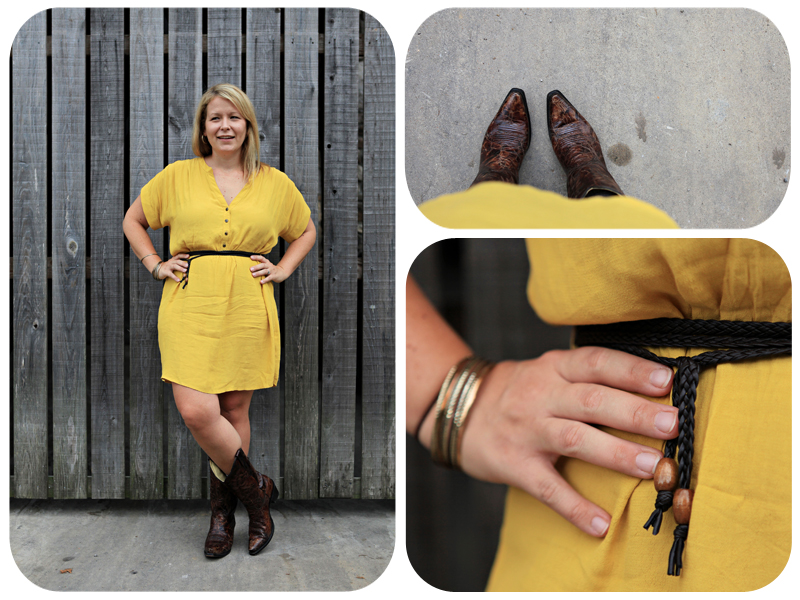 Forever 21 dress, forever 21 yellow dress, yellow dress, belted dress, gold bracelets, dress and boots, boots, country outfitter