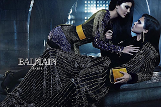 Kylie Jenner with her sister Kendall Jenner for Balmain campaign poster