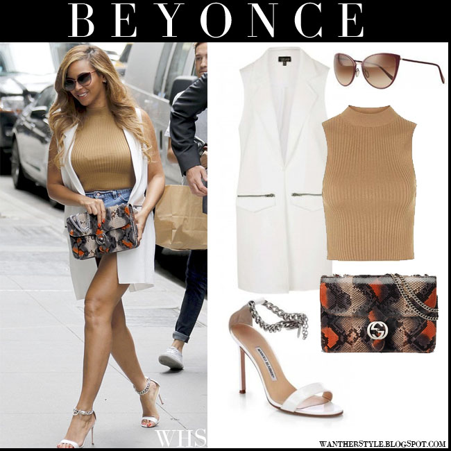 Beyonce in white sleeveless Topshop coat, camel Topshop top, denim shorts, white manolo blahnik chaos sandals and python Gucci interlocking bag oliver peoples jaide sunglasses what she wore july 14