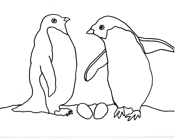 Pair of Adelie Penguins at their Nest title=