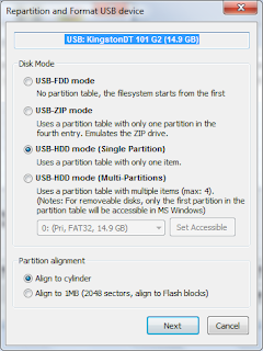 Janela Repartition and Format USB do Bootice