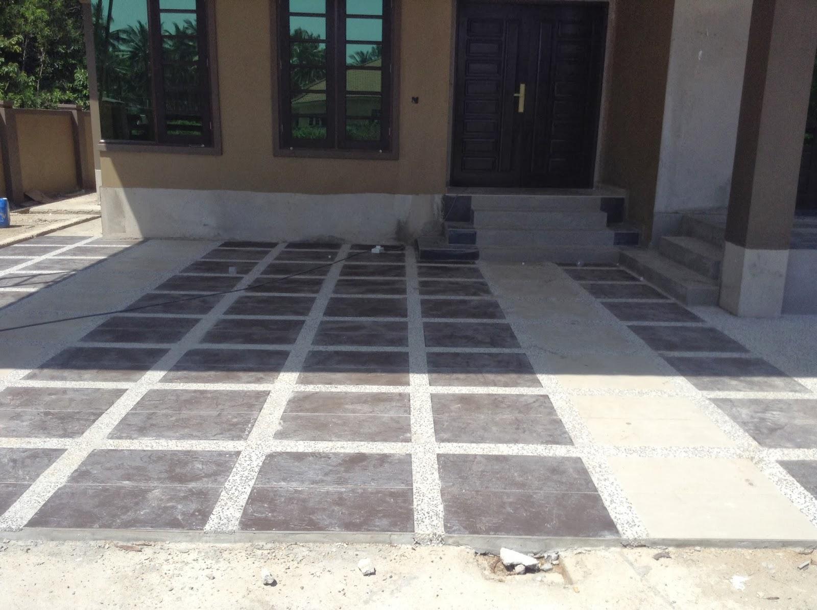 Design Lantai Porch Selepas Siap Dipasang Tiles Dan Pebble Wash