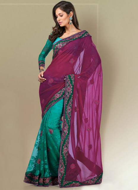 Designer Half Party Wear Saree With Chiffon Blouses