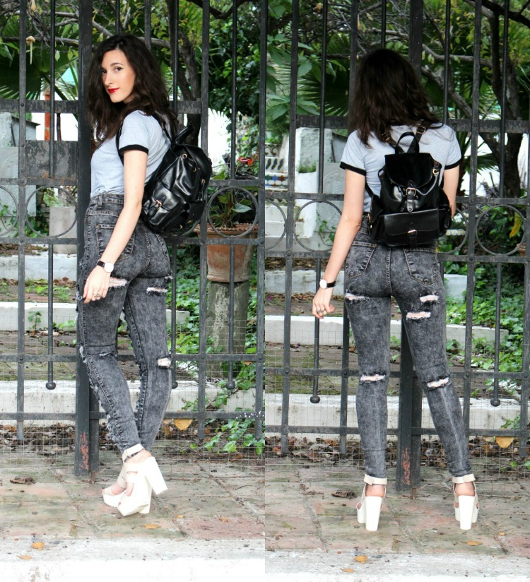 leather backpack, high waisted jeans, ripped jeans, platforms, high heels, alien tshirt