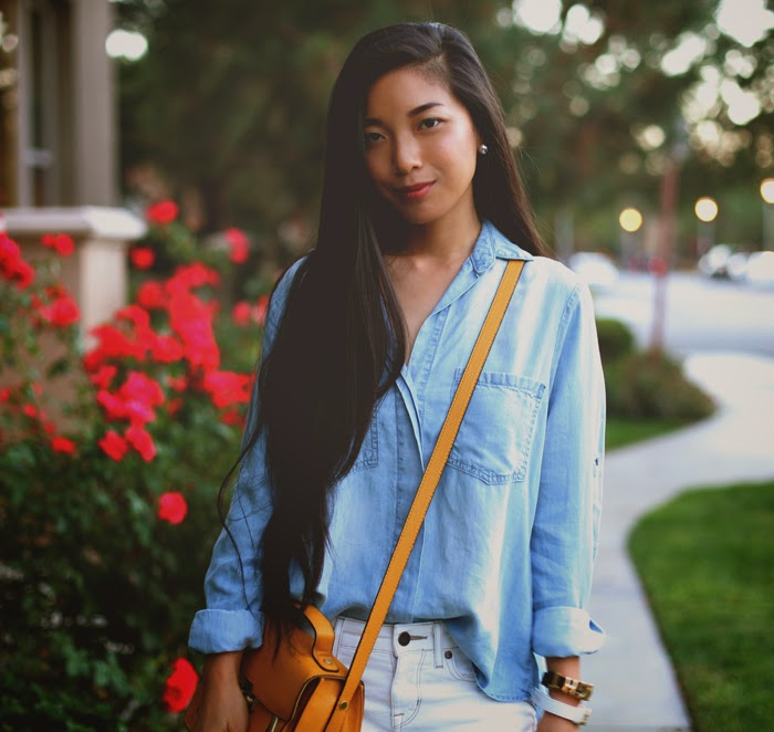 Stephanie Liu of Honey & Silk wearing Bella Dahl shirt, Rich & Skinny jeans, Kelsi Dagger heels, and Phillip Lim for Target bag.