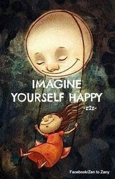 """Imagine yourself happy."" ~ z2z; Drawing of a girl swinging on a swing attached to the sun with a big smile on her face. Facebook/ZentoZany"