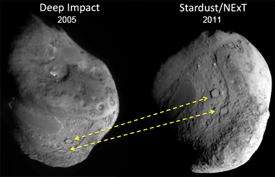 Comparison pictures of Comet Tempel-1, 2005 and 2011. NASA, 2011.