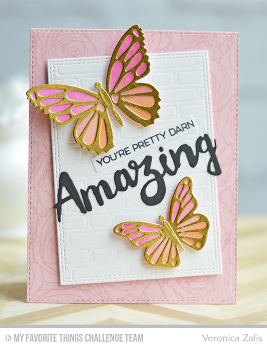 Pretty Darn Amazing Card by Veronica Zalis featuring the Amazing stamp set, Roses All Over background stamp, and Doubly Amazing, Brick Wall Cover-Up, Flutter of Butterflies Lace and Solid Die-namics #mftstamps