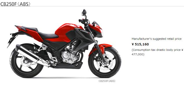 Harga Honda CB250F 2015