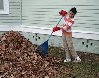 Girl raking leaves as one of her chores around the house