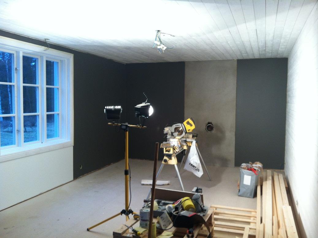 Långsjö lantbruk: färg på väggarna i vardagsrummet
