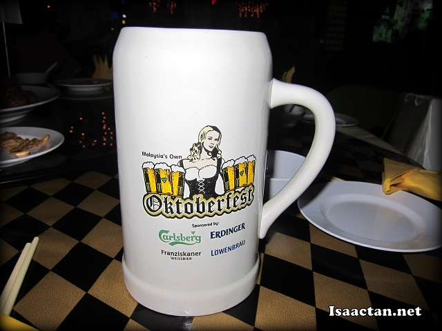 The rather large Oktoberfest mugs to serve Carlsberg, Erdinger, Franziskaner and Lowenbrau