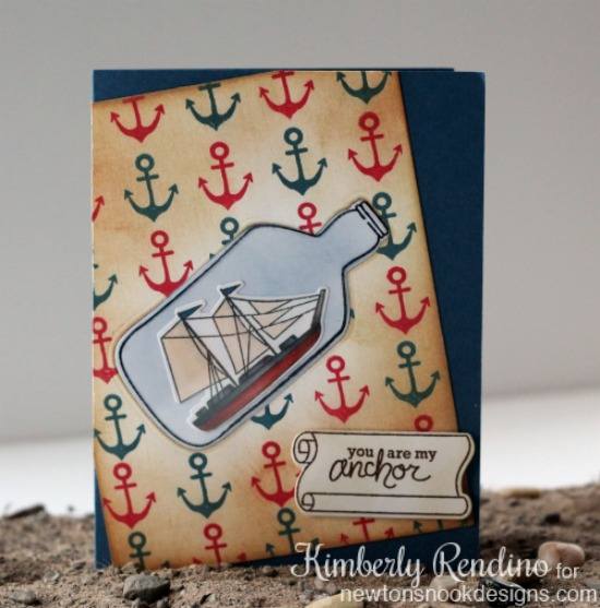 Ship in a bottle card by Kimberly Rendino | Message in a Bottle Stamp set by Newton's Nook Designs