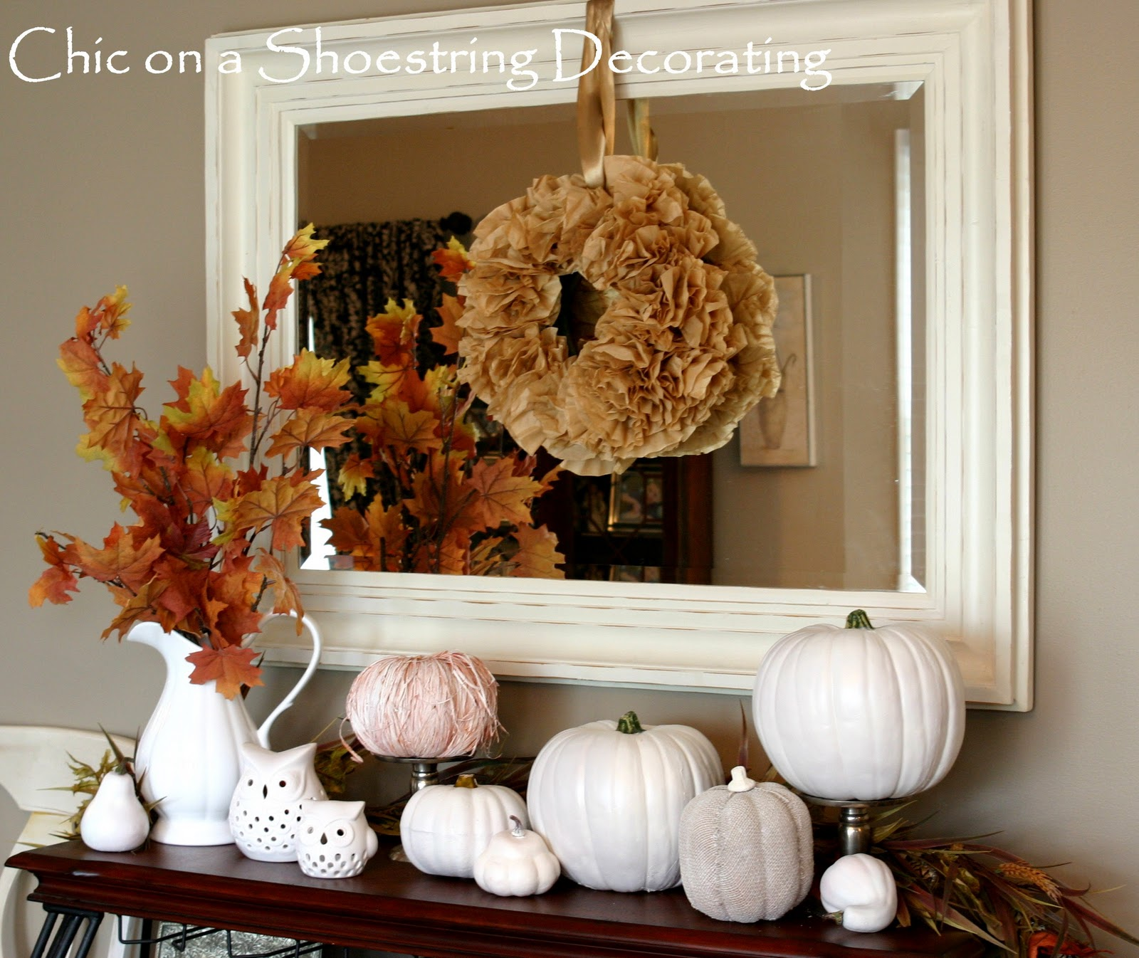 Chic on a shoestring decorating i heart white pumpkins for Fall mantel decor