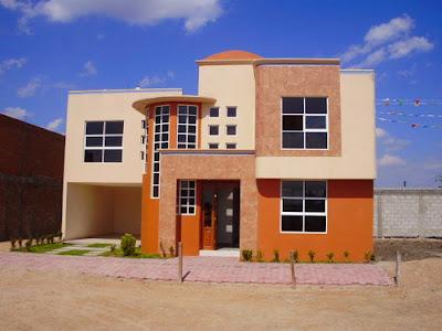 casa moderna con fachada pintada color naranja