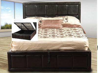 A brown leather ottoman storage bed