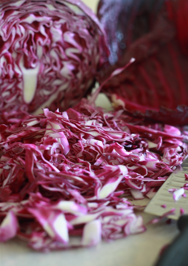 how to shred red or purple cabbage for coleslaw recipe