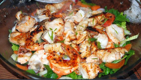Seafood Salad with Tofu and Prawns