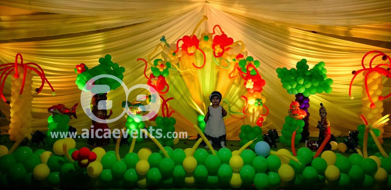 Aicaevents birthday party balloon decorations for Balloon decoration for stage