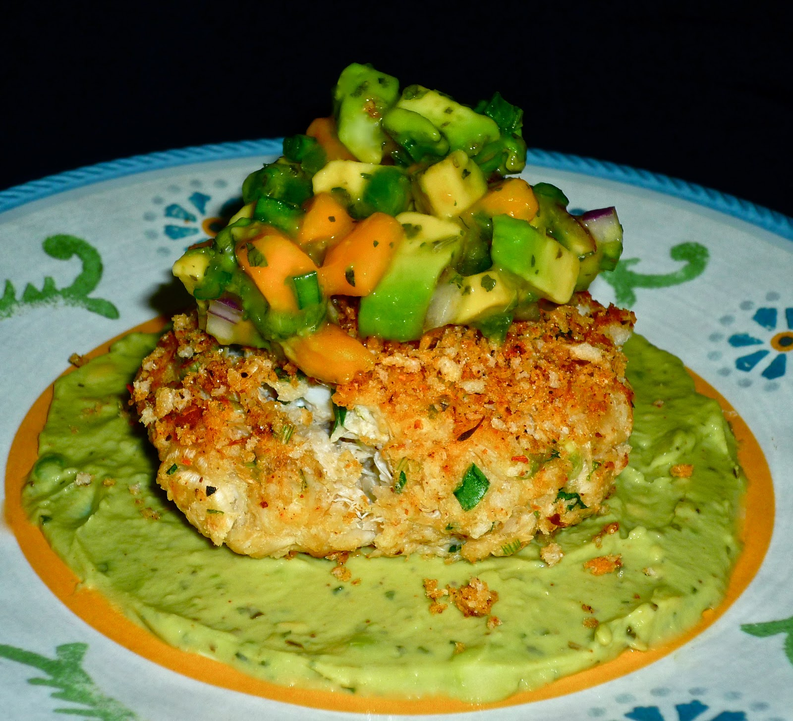 baked crab cakes with avocado crema and mango avocado salsa inspired ...