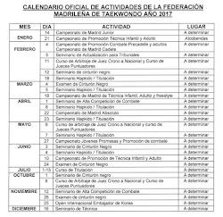 CALENDARIO OFICIAL F.M.T. 2017
