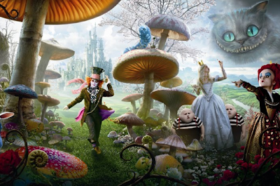 scene from Alice in Wonderland movie with mushrooms and cheshire cat