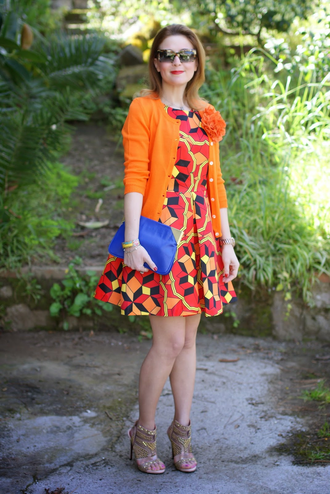 Choies multicolor debris dress, Cesare Paciotti sandals, Millelire POP, Fashion and Cookies, fashion blogger