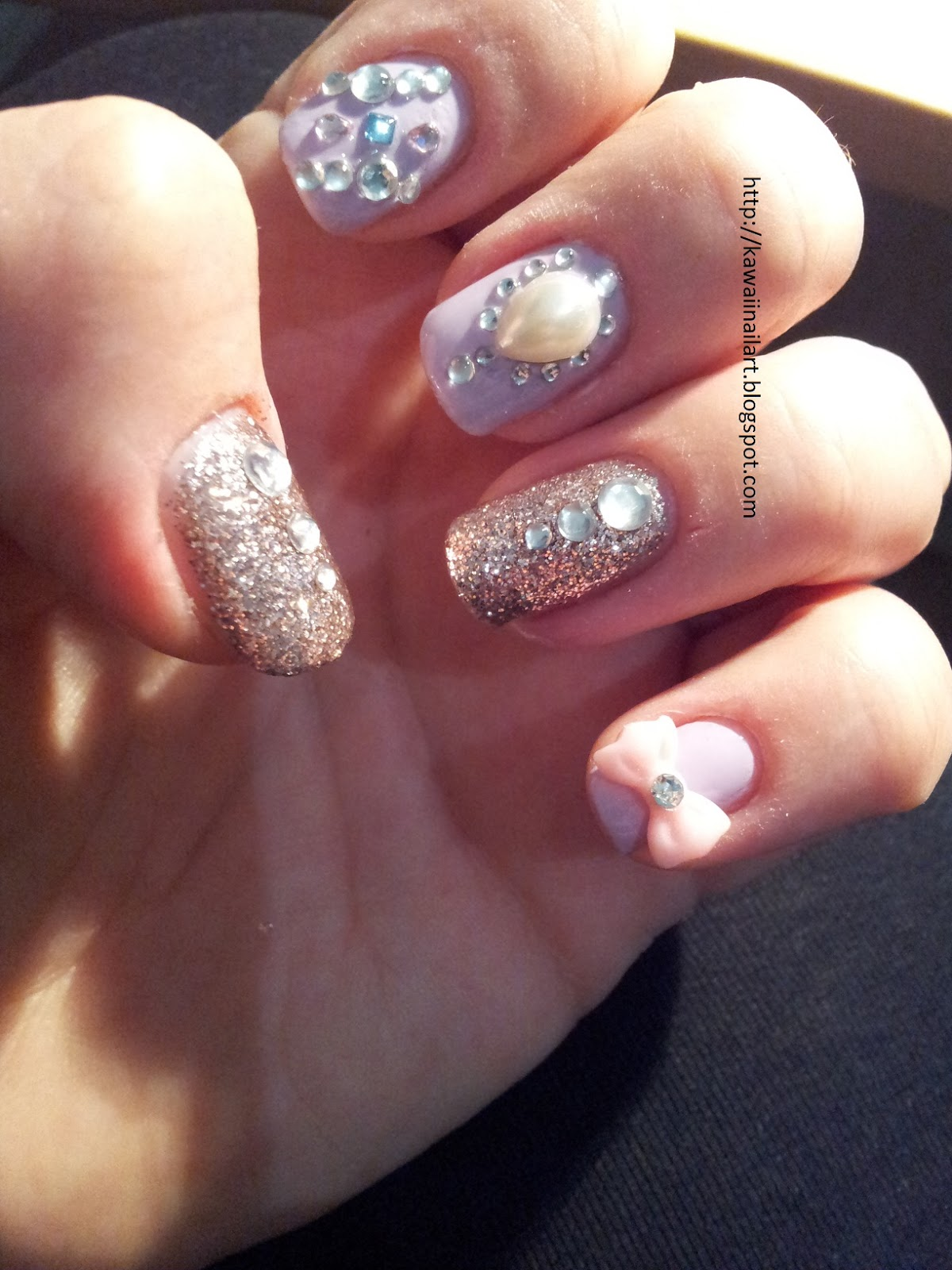 Nail Designs with Rhinestones and Pearls