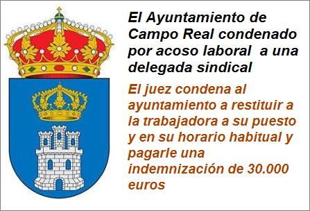 MobbingMadrid  El Ayuntamiento de Campo Real condenado por acoso laboral  a una delegada sindical