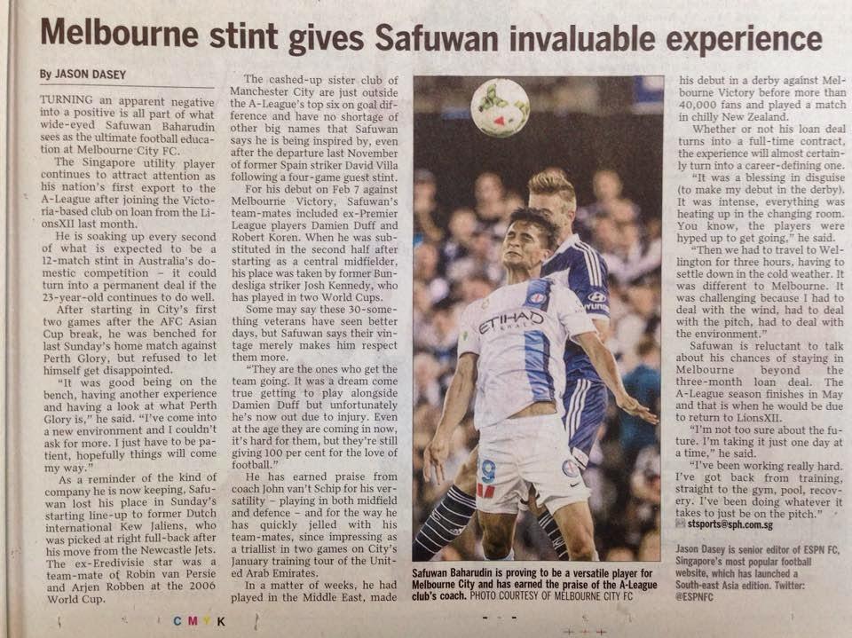 Safuwan Baharudin terima pengalaman berharga bersama Melbourne FC