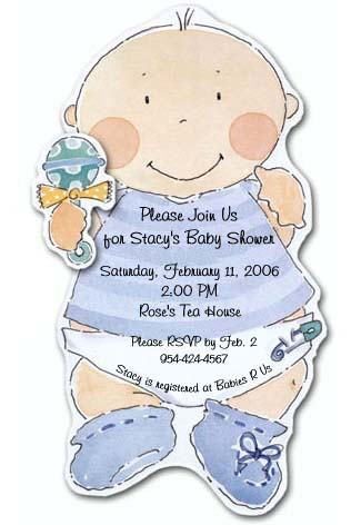 Baby Doll Baby Boy Baby Shower Invitations