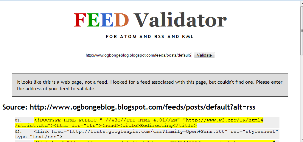 feed validator error