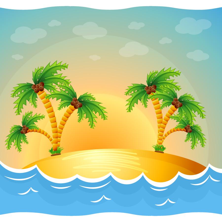 南国の島のビーチ Cartoon beach island illustration イラスト素材